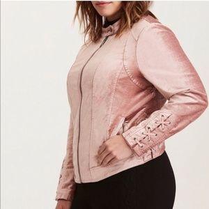 Torrid Blush Pink Bomber Jacket Lace Up Detail